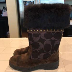 Coach Lesly fur boots size 9.5  9 1/2 B